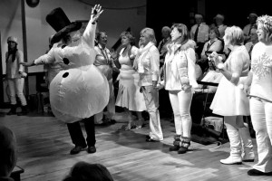 The dancing girls with Frsoty the Snowman