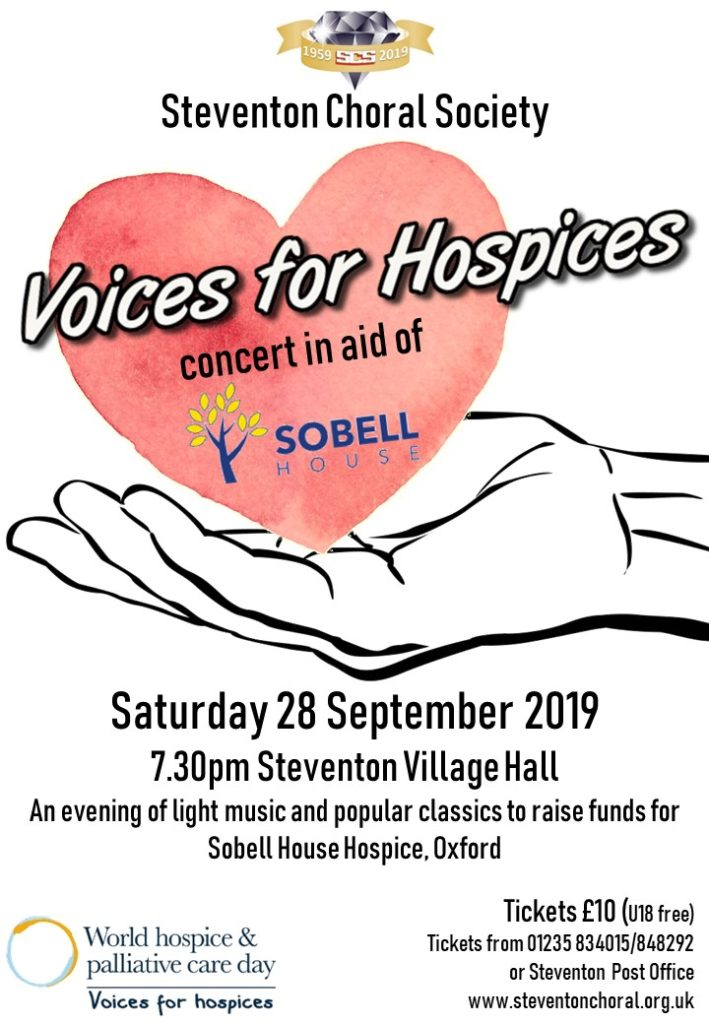 Poster for Voices for Hospices concert on 28 September