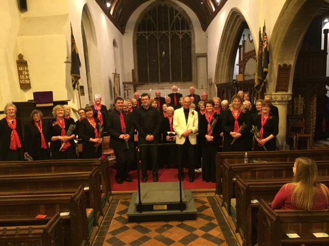 The choir, soloists, organist and musical director after Steventon Choral Society's Spring Concert on Palm Sunday 2017 in Steventon Parish Church