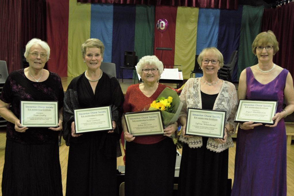 New Honorary Life Members of Steventon Choral Society with their certificates