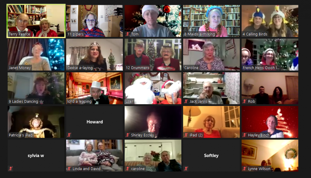 Screenshort of participants and others in Twelve Days of Christmas