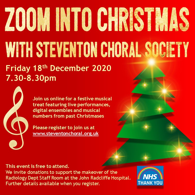 POster for 'Zoom into Christmas with Steventon Choral Society'