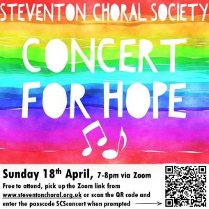 Concert for Hope poster with QR code and passcode