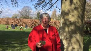 SCS chairman Caroline Miller records her 'thank-you' speech at Steventon Church